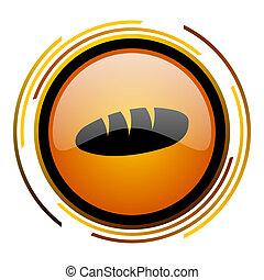 bread round design orange glossy web icon