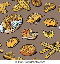 Bread seamless pattern. Vector drawing. Bakery product colored sketch background. Vintage food illustration for bakeshop, baker bread house label, menu or packaging design.