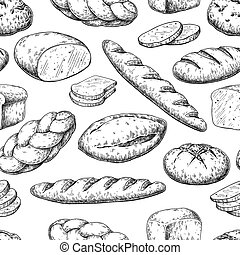 Bread seamless pattern. Vector drawing. Bakery product sketch ba