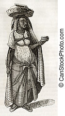 Bread seller woman old illustration. By unidentified author...