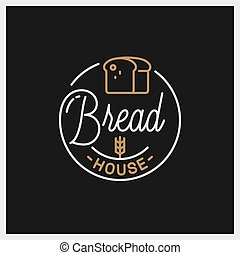 Bread shop logo. Round linear of bread house