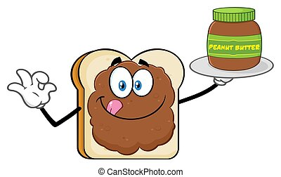Bread Slice Cartoon Mascot Character With Peanut Butter Holding A Jar Of Peanut Butter