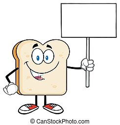 Bread Slice Holding A Blank Sign