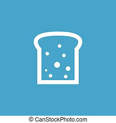 Bread slice icon, white