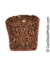 bread slice - whole whaet bread over white background
