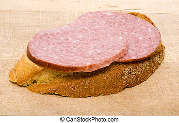 bread slice with salami