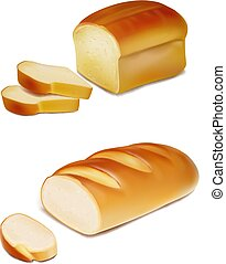 Bread slices and white loaf realistic