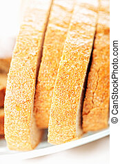 Bread slices on plate