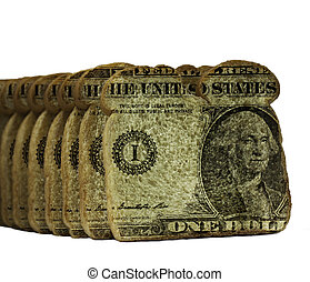 Bread slices with dollars in the middle on white background