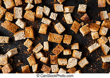 bread small squares, homemade croutons, food close up
