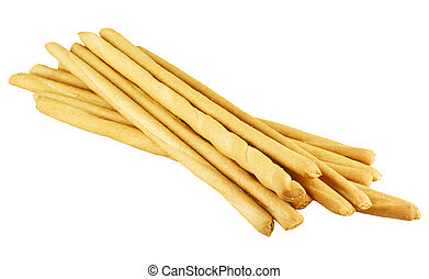 bread sticks on white background