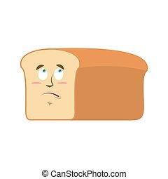Bread Surprised Emoji. piece of bread astonished emotion isolated