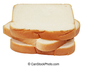 Bread  - Three slices of bread isolated on white