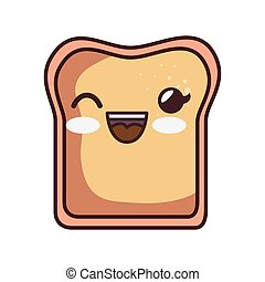 bread toast kawaii style isolated icon