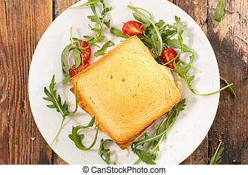 bread toast with cheese and ham