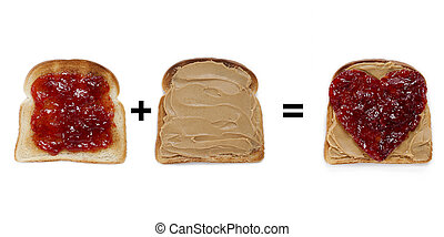bread toast with jam and peanut butter spread