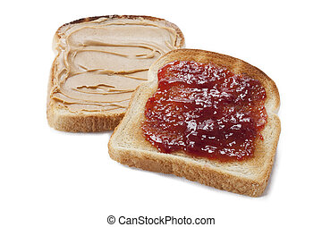 bread toast with peanut butter and jam