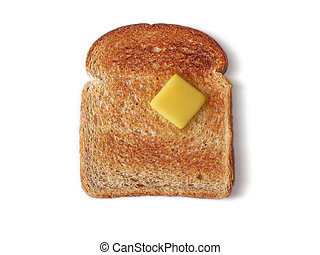Bread Toasted - Whole Wheat Toast with a pat of butter. Path...