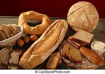 bread, todavía, vivo, encima, oscuridad, madera, plano de...