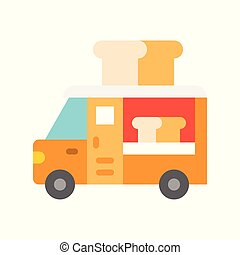 Bread truck vector, Food truck flat style icon
