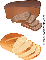Bread vector - vector of sliced bread in front of a white ...