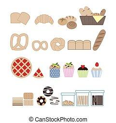 bread vector,bakery set
