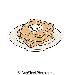 bread, vektor, butter., weinlese, toast, scheibe