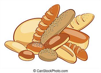 bread., vektor, illustration