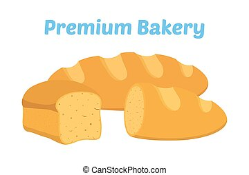 Bread, whole grain loaf, bakery, pastry. Cartoon flat style. Vector