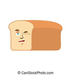 Bread winks Emoji. piece of bread happy emotion isolated