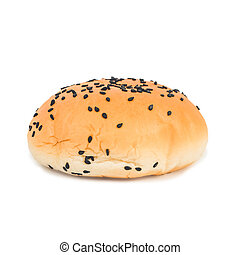 Bread with black sesame seeds isolated on white background