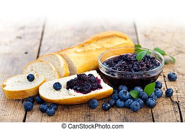 Bread with blueberry jam