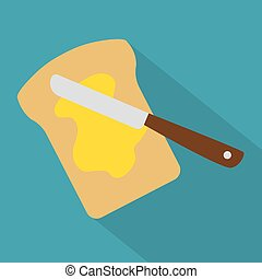 bread with butter icon- vector illustration