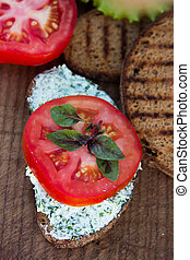 bread with cheese and tomato