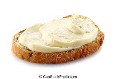 bread with cream cheese on white background