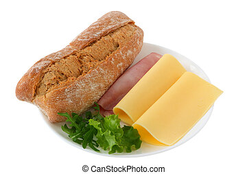 Bread with ham and cheese