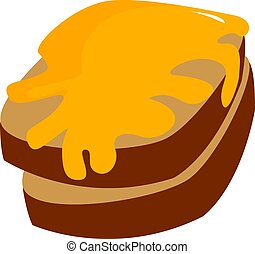 Bread with honey, illustration, vector on white background.