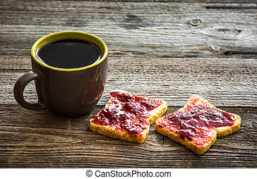 bread with jam and tea for breakfast