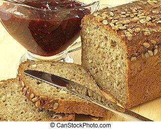Bread with jam, closeup