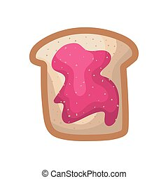 bread with jelly of a pink color