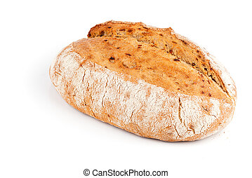 bread with onion, over white background