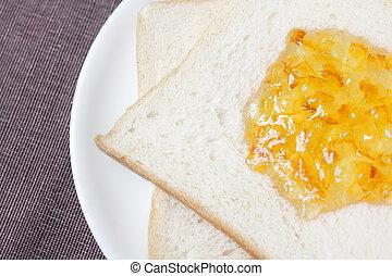 Bread with orange marmalade