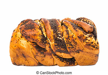 bread with poppy seeds isolated