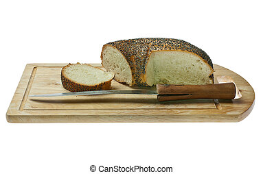 Bread with poppy seeds.