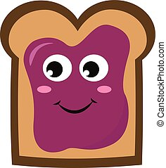 Bread with purple jam, illustration, vector on white background.