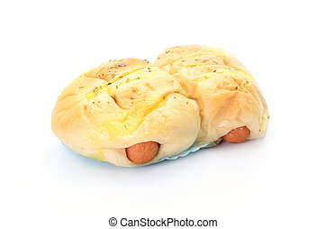 Bread with Sausage on white background