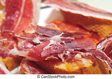 bread with spanish serrano ham