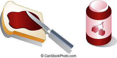 Bread with spread Cherry jam Isometric 3d illustration