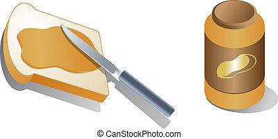 Bread with spread peanut butter Isometric 3d illustration