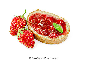 Bread with strawberry jam and berries